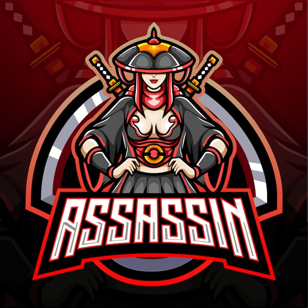 Assassin girl esport logo mascotte ontwerp