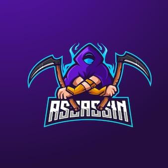 Assassin mascot logo ontwerp vector met moderne illustratie concept stijl voor badge en embleem. moordenaar met sikkel voor esports-team