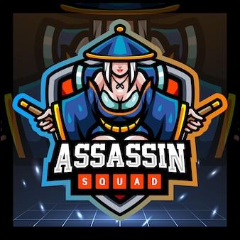 Assassin mascotte esport logo ontwerp