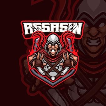 Assassin-mascotte esports gaming-logo-ontwerp