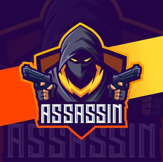 Assassin mascotte met 2 pistolen esport logo-ontwerp