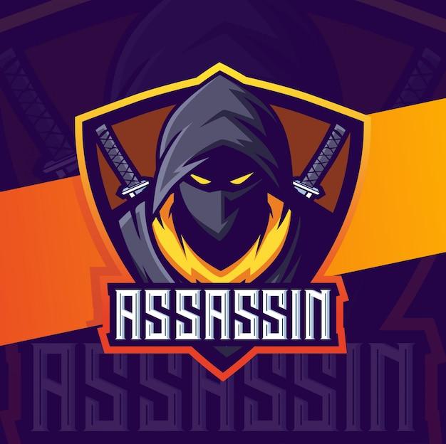 Assassin ninja mascotte esport logo ontwerp