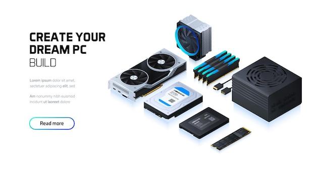 Assemblage computercomponenten voor werkstation