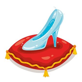 Assepoester glanzende glazen schoen