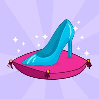 Assepoester glazen schoen illustratie