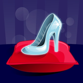 Assepoester glazen schoen op rood kussen