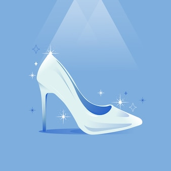 Assepoester glazen schoen realistische stijl