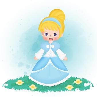 Assepoester prinses in aquarel stijl.