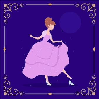 Assepoester sprookjesachtige karakter illustratie