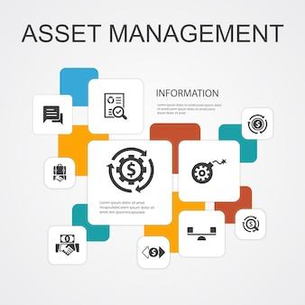 Asset management infographic 10 lijn pictogrammen template.audit, investeringen, business, stabiliteit eenvoudige pictogrammen