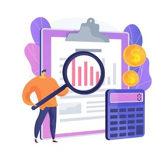 Assistentie bij audits. financieel rapport, boekhoudkundige analyse, beheer van bedrijfsfinanciën. financier maakt beoordeling van bedrijfskosten. vector geïsoleerde concept metafoor illustratie