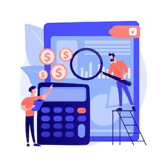 Assistentie bij audits. financieel rapport, boekhoudkundige analyse, beheer van bedrijfsfinanciën. financier maakt beoordeling van bedrijfskosten.