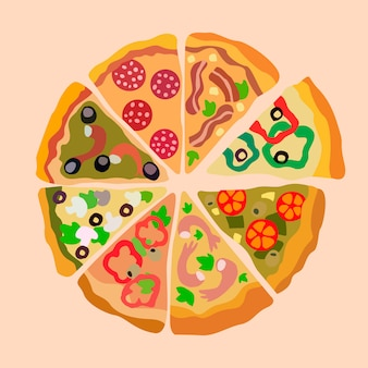 Assorti pizza segmenten kleur illustratie