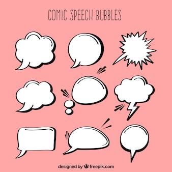 Assortiment van dialoogballonnen van verschillende vorm