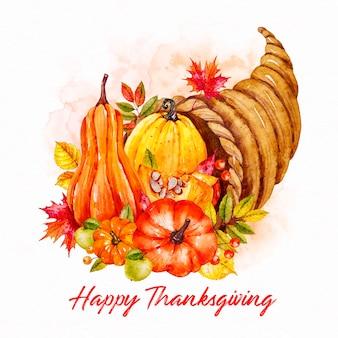 Assortiment van groenten aquarel thanksgiving achtergrond