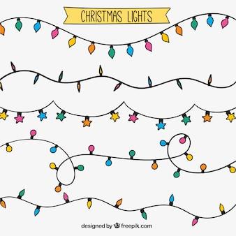 Assortiment van hand getrokken kerst lichtslingers