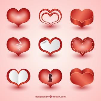 Assortiment van harten met verschillende stijlen