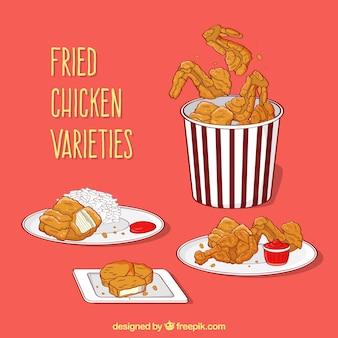 Assortiment van heerlijke gebakken kip