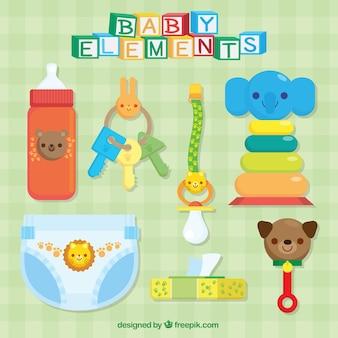 Assortiment van kleurrijke baby accessoires
