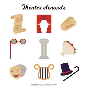 Assortiment van negen theater elementen