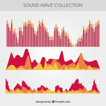 Assortiment van platte geluidsgolven
