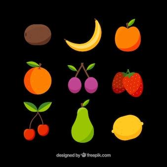 Assortiment van platte heerlijke vruchten