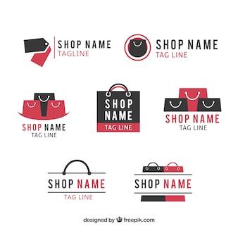 Assortiment van platte logo's voor winkels