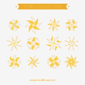 Assortiment van platte sterren met verschillende ontwerpen