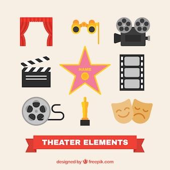 Assortiment van platte theater elementen