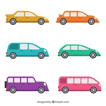 Assortiment van platte voertuigen met fantastische kleuren
