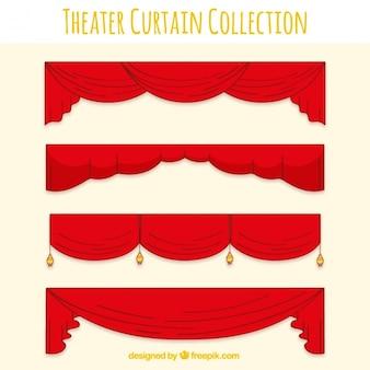 Assortiment van rode decoratieve theatergordijnen