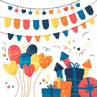 Assortiment van verjaardag ornamenten