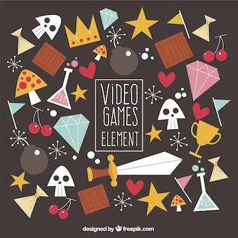 Assortiment van video game elementen in vlakke stijl