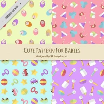 Assortiment van vier platte patronen voor baby's