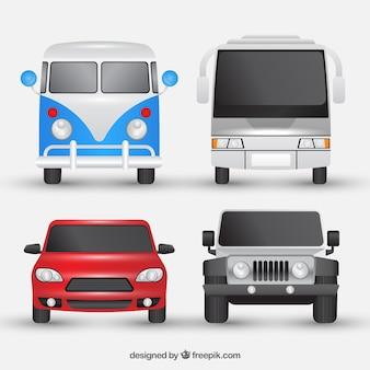 Assortiment van vier voertuigen in realistische stijl