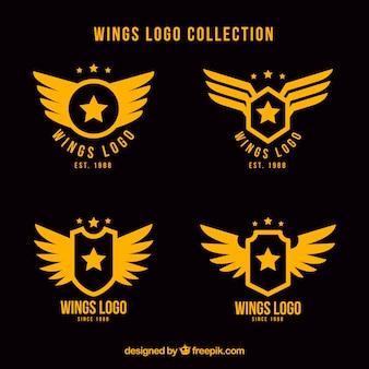 Assortiment van vlakke logo's met sterren en vleugels