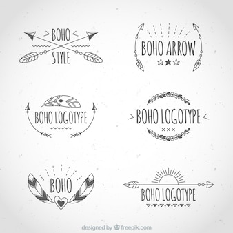 Assortiment van zes etnische logo