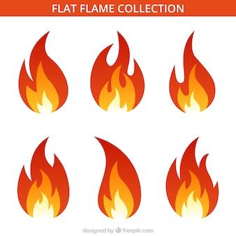 Assortiment van zes platte vlammen
