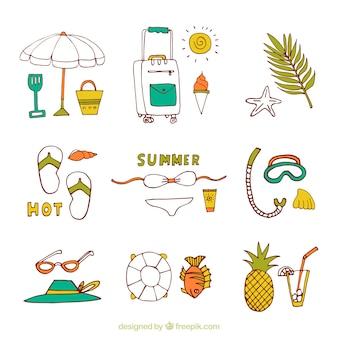 Assortiment zomerartikelen in handgetekende stijl