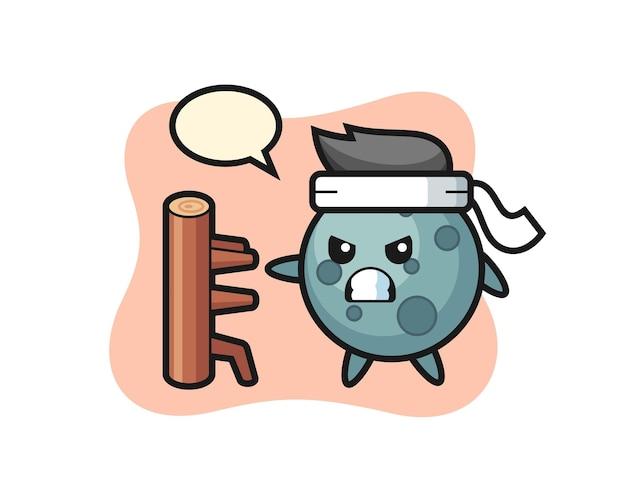 Asteroïde cartoon afbeelding als een karate-jager, schattig stijlontwerp voor t-shirt, sticker, logo-element