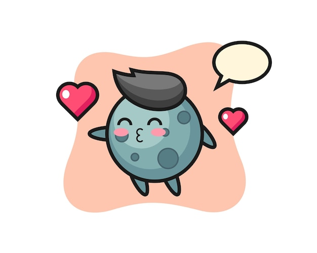 Asteroïde karakter cartoon met kussend gebaar, schattig stijlontwerp voor t-shirt, sticker, logo-element