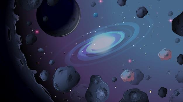 Asteroïde op ruimteachtergrond