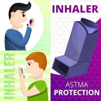 Astma-inhalator banner set, cartoon stijl
