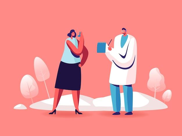 Astma-ziekte, medische zorg, respiratoire pathologie geneeskunde, pulmonologie illustratie