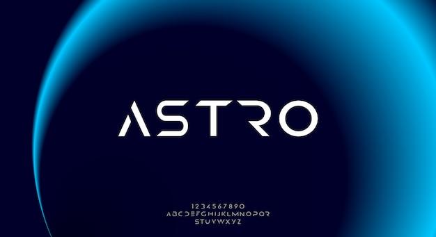 Astro, een abstract futuristisch sciencefiction-alfabetlettertype met technologiethema. modern minimalistisch typografieontwerp