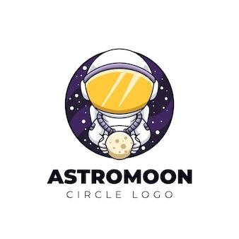 Astro maan leuke astronaut creatieve cartoon logo