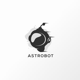 Astrobot-embleemontwerp vectorillustratie klaar te gebruiken