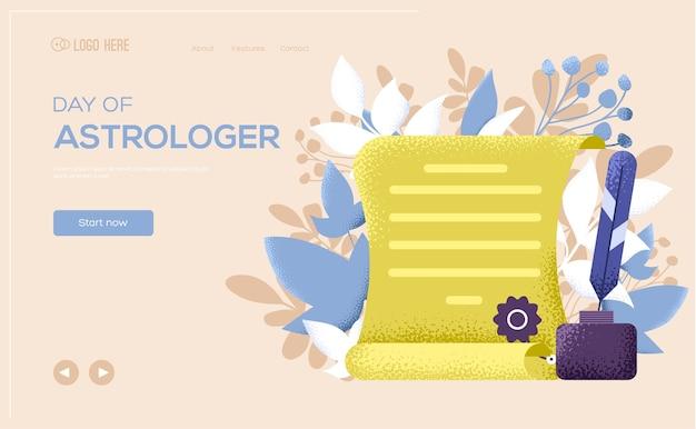 Astrologie huis brochure concept flyer, webbanner, ui-koptekst, site invoeren. korrelstructuur en ruiseffect. plaats voor tekst, plaats om te kopiëren
