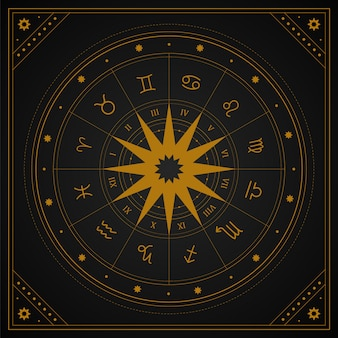 Astrologiewiel met sterrenbeelden in boho-stijl.
