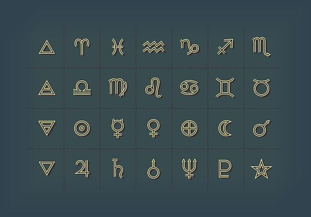 Astrologische symbolen en mystieke tekens. set astrologische grafische elementen. iconen collectie.